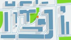 Ombres de navigateur de GPS de plan de ville longues Photographie stock libre de droits