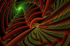 Ombres et modèle de zigzag dramatiques rouges verts abstraits colorés Photographie stock libre de droits
