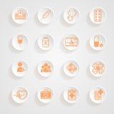 Ombres médicales de bouton d'icônes Photo libre de droits