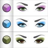 Ombres Pallettes pour différentes couleurs d'oeil Images stock