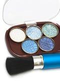 Ombretti blu di trucco Fotografia Stock