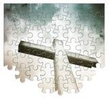 Ombyggnad eller förlora vår tro - kristen arg begreppsbild i pusselform royaltyfri fotografi