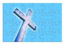Ombyggnad eller förlora vår tro - kristen arg begreppsbild i pusselform stock illustrationer