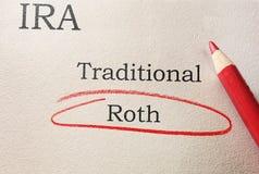 Omcirkeld Roth IRA stock afbeelding