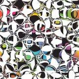 Omcirkelde Grunge en gestreept kleurrijk naadloos patroon Royalty-vrije Stock Foto's
