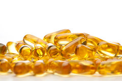 Omega-3 fish fat oil capsules Royalty Free Stock Photo