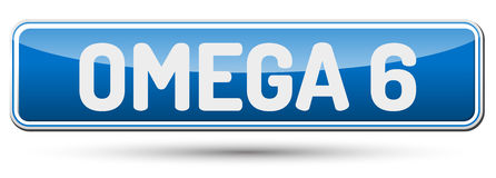 OMEGA 6 - Abstract beautiful button with text. Royalty Free Stock Photo