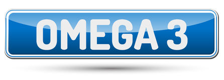 OMEGA 3 - Abstract beautiful button with text. Royalty Free Stock Photography