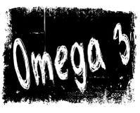 OMEGA 3 on black grunge background. Illustration image concept Stock Photos