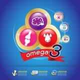 Omega Calcium en Vitamine voor Jonge geitjesconcept Logo Gold Kids Stock Foto's