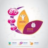 Omega Calcium en Vitamineconcept Logo Gold Kids Royalty-vrije Stock Fotografie