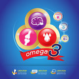 Omega Calcium and Vitamin for Kids Concept Logo Gold Kids Stock Photos