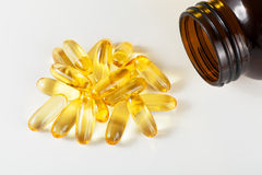 Omega 3 capsules. From north Fish Oil on white background Royalty Free Stock Photos