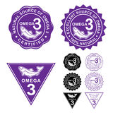 Omega 3 Certified Seals Icons Set Stock Photography