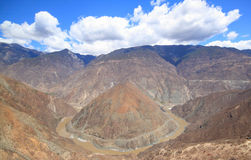 Omega curve in tibet shangrila stock photo