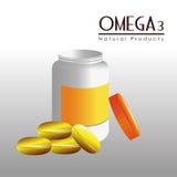 Omega 3 design, vector illustration. Royalty Free Stock Photo