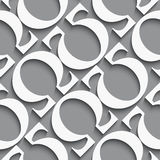 Omega diagonal dark gray seamless. White diagonal seamless background with omega letters on dark gray with realistic shadow Stock Image