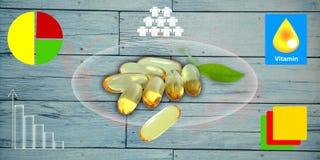 Omega 3 för fiskolja stelnar kapslar på träbakgrund Royaltyfria Foton