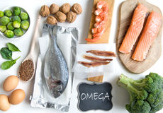 Omega fatty acid foods Royalty Free Stock Photo