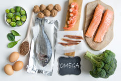 Omega fatty acid foods. Food sources rich in omega including seafood, vegetables and seeds Stock Photos