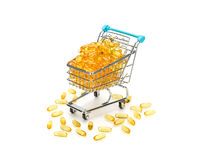 Omega 3 fish fatty acids shopping. Royalty Free Stock Images