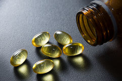 Omega 3 fish oil capsules. Stock Photography