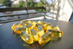 Omega 3 fish oil gel capsules Royalty Free Stock Photos