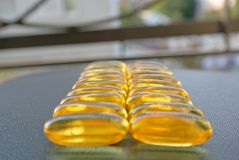 Omega 3 fish oil gel capsules Royalty Free Stock Photos