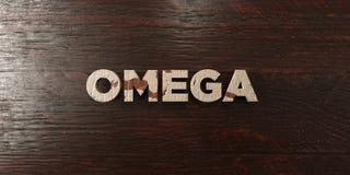 Omega - grungy houten krantekop op Esdoorn - 3D teruggegeven royalty vrij voorraadbeeld Vector Illustratie