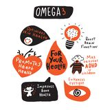 Omega 3 healthy benefits. Funny hand drawn infographic s. Made in vector. stock illustration