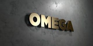 Omega - het Gouden teken zette op glanzende marmeren muur op - 3D teruggegeven royalty vrije voorraadillustratie Royalty-vrije Illustratie
