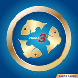 Omega 3 icon and logo ,  . omega 3 and vitamin gold set. On blue background Stock Photography