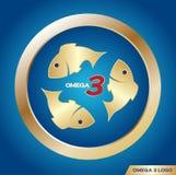 Omega 3 icon and logo ,  . omega 3 and vitamin gold set Stock Photography