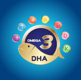 Omega 3 logo and icon , dha and vitamin. On blue background Stock Images
