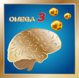 Omega 3  , logo and icon , omega 3 for brain. On blue background Royalty Free Stock Photos