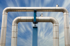 Omega loop steam pipeline for industrial. Stock Photos