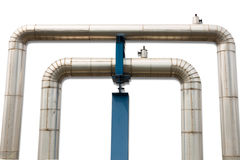 Omega loop steam pipeline for industrial on isolate white backgr Stock Image