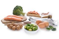 Omega 3 reiche Nahrungsmittel stockbild