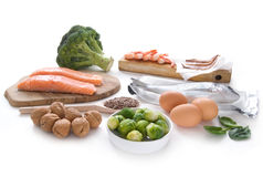 Omega 3 rich foods. Collection of foods high in omega over a white background stock image