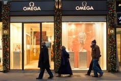 Omega-Shop in Mailand stockbild