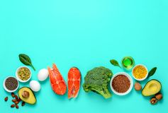 Omega-3 source concept. Healthy food products which are rich source of Omega3 fats, healthy eating concept, blank space for a text, view from above stock photo