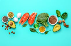 Omega-3 source concept. Healthy food products which are rich source of Omega3 fats, healthy eating concept, blank space for a text, view from above royalty free stock image