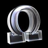 Omega-Symbol im Glas (3d) Stockbilder