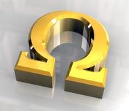 Omega-Symbol im Gold (3d) Lizenzfreie Stockbilder