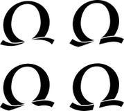 Omega symbool vastgesteld vectorembleem voor uw ontwerp stock foto's