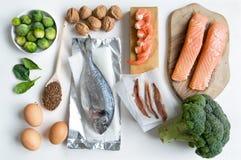 Omega tłustego kwasu jedzenia kolekcja Zdjęcia Stock