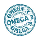 Omega three grunge rubber stamp. Blue grunge rubber stamp with the text Omega three written inside the stamp Royalty Free Stock Photo
