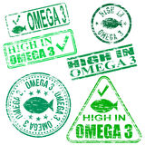 Omega Three Stamps. Rectangular and round Omega 3 rubber stamp s Stock Images