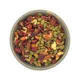 Omega 3 trail mix in an old stoneware bowl Stock Images