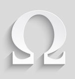 Omega white plastic  symbol. White Omega letter with realistic shadow on gray background Stock Images